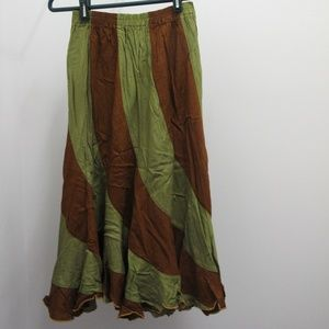 Other - Brown Green Swirl Stripes Indian Skirt